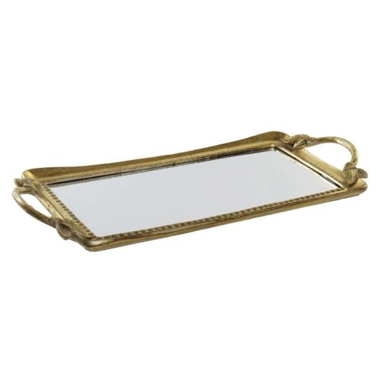 Tálca műgyanta tükör 50,5x22,3x3,2 aranyozott