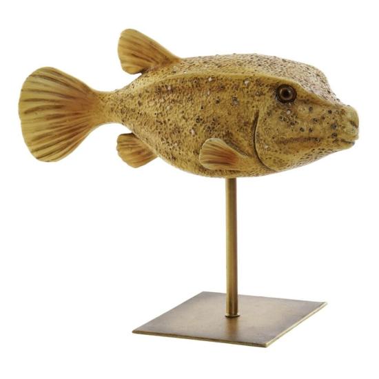 Figura műgyanta fém 24,5x10x21 hal sárga
