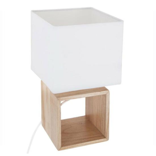 fehér asztali lámpa kocka bambusz talppal