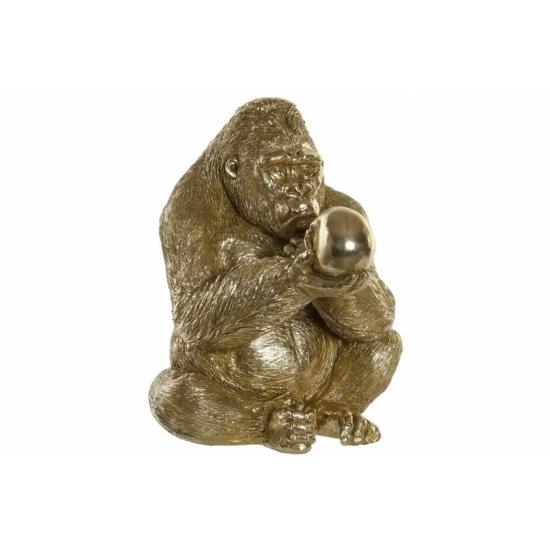Figura műgyanta 33x32x42 gorilla aranyozott