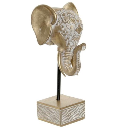 Figura műgyanta 11,3x11x24 elefánt aranyozott