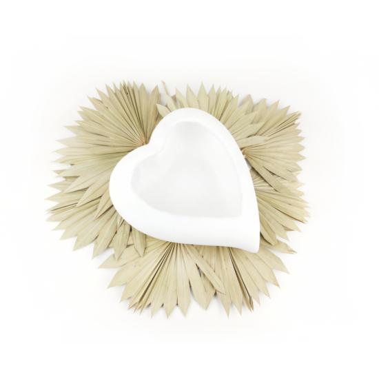 szív alakú virágtartó fehér