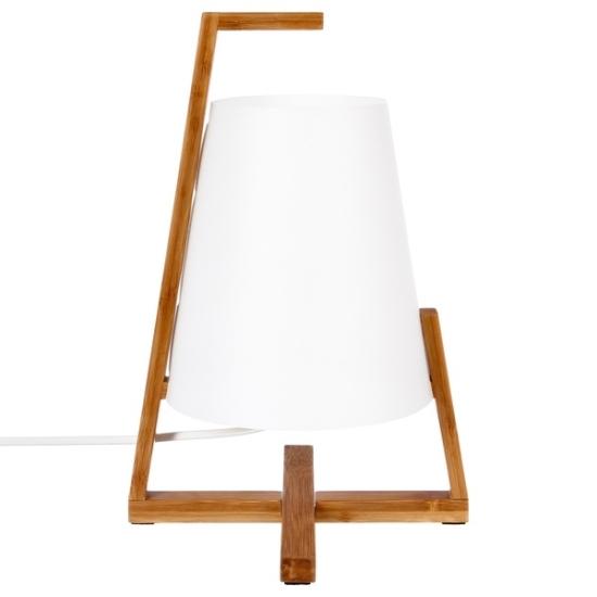 fehér asztali lámpa kereszt bambusz talppal