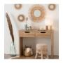 Kép 2/3 - fehér asztali lámpa kocka bambusz talppal